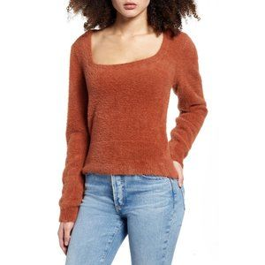 ASTR The Label Brown Fuzzy Crop Sweater S